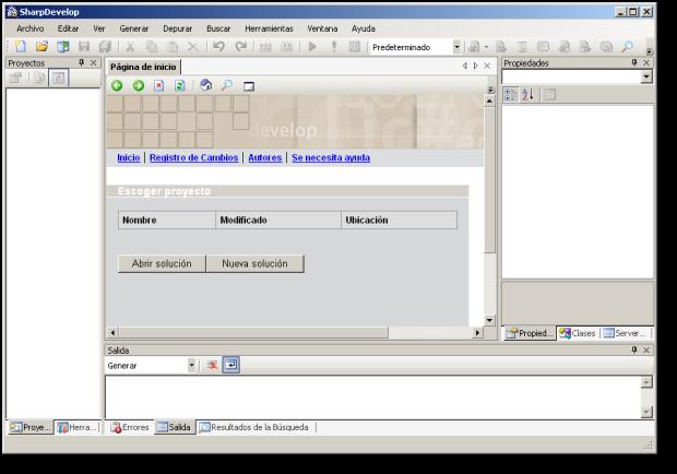 Interfaz de SharpDevelop