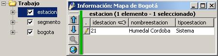 Información de una capa de interés.