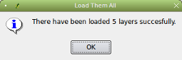 A dialog to inform you the loading is done